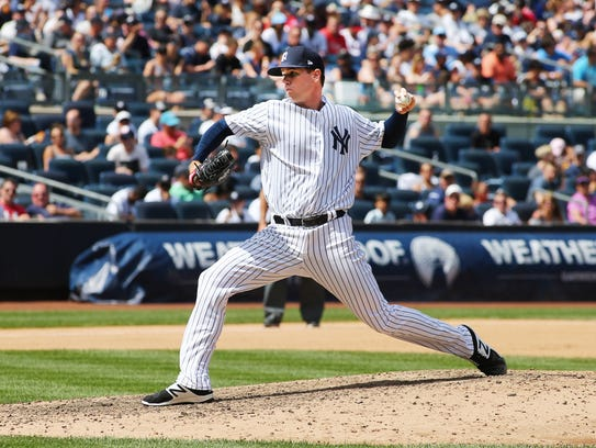 New York Yankees pitcher Tyler Webb (36) makes his