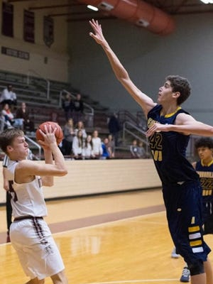 Day School's 6-foot-11 sophomore Noah Hupmann is averaging 13.8 points, 12.0 rebounds and 6.2 blocks per game this season.