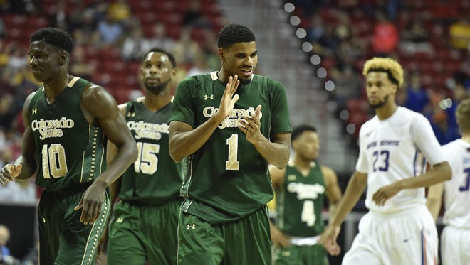 CSU guard Antwan Scott (1) claps in celebration during the Rams' 88-81 upset of Boise State in the Mountain West tournament semifinals.
