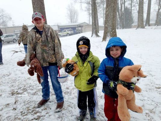 More than 85 children braved the snowy weather to enjoy themselves at the New Freedom VFW Post 7012's egg hunt.