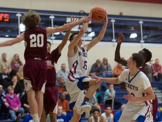 Spring Grove's Grant Sterner jumps up for a layup, Tuesday, Dec. 19, 2017. The New Oxford Colonials topped the Spring Grove Rockets, 54-48.