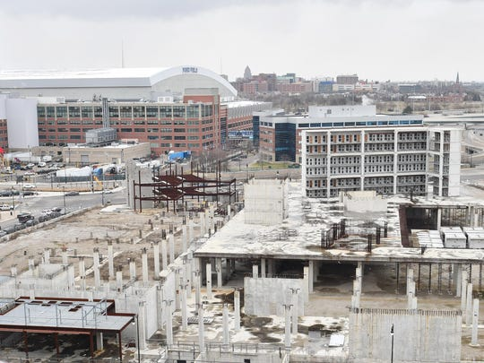Unfinished Wayne County Jail site at Gratiot and I-375 in Detroit, Michigan on January 27, 2017. (The Detroit News/ Daniel Mears)
