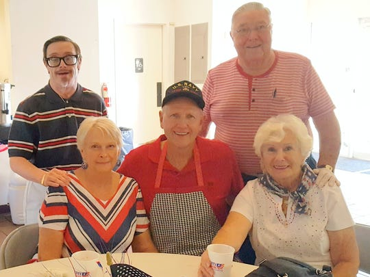 Standing (from left) are Tim (son) and Richard Tull.  Seated are Lib and Sam Garrett and Helen Tull. The Tulls and Garretts decorated and coordinated the All American Fourth of July hotdog lunch following both special patriotic services held at CCC on July 2.