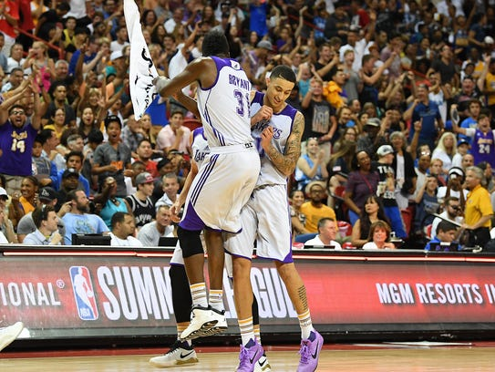 Lakers forward/center Thomas Bryant (31) celebrates