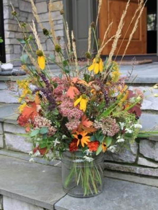 Grasses and late-blooming flowers from your garden make a beautiful fall bouquet.