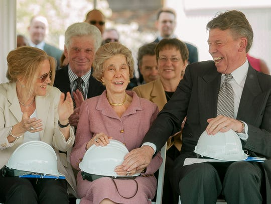Dorothy Park, center, attends the groundbreaking ceremony