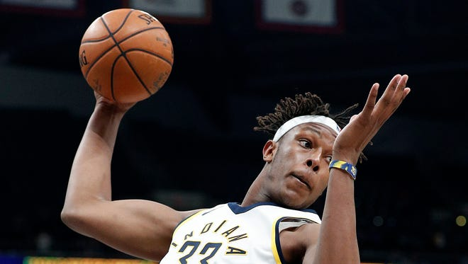 Indiana Pacers center Myles Turner (33) pulls down a rebound in the second half of their game at Bankers Life Fieldhouse Wednesday, Dec 6, 2017. The Indiana Pacers defeated the Chicago Bulls 98-96.