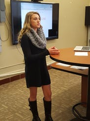 """Kylee Gilge presents her business with the slogan """"THINK"""