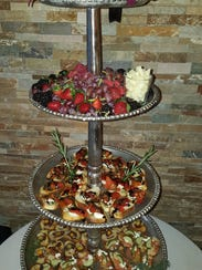 A tiered holiday display at Limani Seafood Grill in