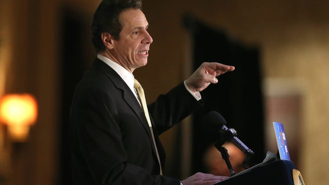 Gov. Andrew Cuomo address a group during a Rotary luncheon in Rochester, N.Y. Wednesday, March 11, 2015.