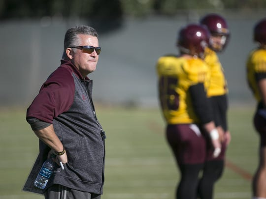 ASU head coach Todd Graham looks on during an ASU football practice at the ASU practice facility in Tempe on November 15, 2016.