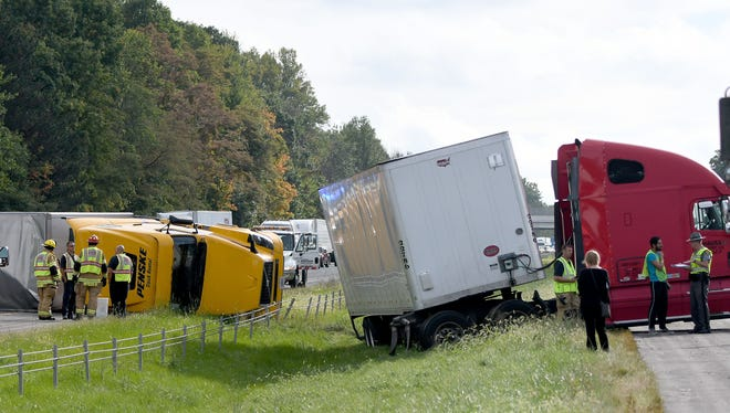 An accident involving two trucks in the North bound lane of Interstate 71 just south of the US 30 interchange slowed traffic in both directions Monday.