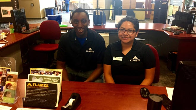 Truckee Meadows Community College peer financial aid mentors Tim Morgan and Maria Lopez-Toral. Financial aid information is available all year long at TMCC and UNR.
