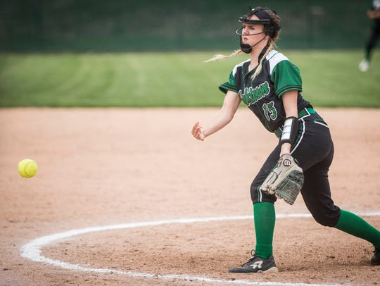 Yorktown's Kaylyn Coahran, shown here delivering a pitch against Wes-Del in the Delaware County tournament last season, will be a key piece for the Class 3A No. 5 Tigers.