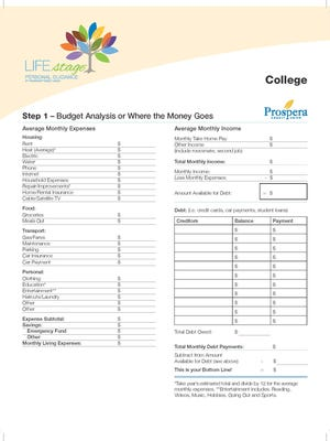 A sample of a budget for a college student.