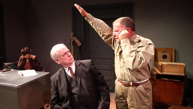 "Amy Crossman, left, Jim Wicker and James Wetzel star in the Chenango River Theatre production of ""Taking Sides."""