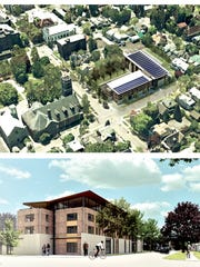 Rendering of the Mixed Use with Lifelong proposal at the old Tompkins County Library property.