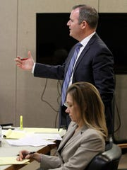 Monmouth County Assistant prosecutors Meghan Doyle and Christopher Decker are shown during a hearing for Liam McAtasney in State Superior Court Judge Richard English's courtroom Thursday morning, February 22, 2018.  McAtasney is charged in the murder of Sarah Stern.