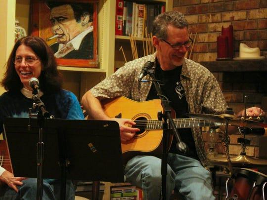 Margie Bertram playing alongside local guitarist Doc Russell McGuff.
