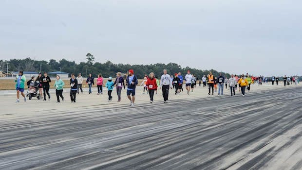 Just under 600 people showed up to run the inaugural 5k with proceeds benifiting the USO.