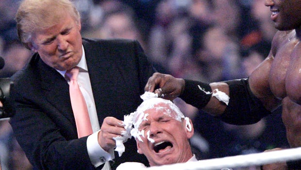 In 2007, Donald Trump gives a close shave to Vince McMahon during Wrestlemania.
