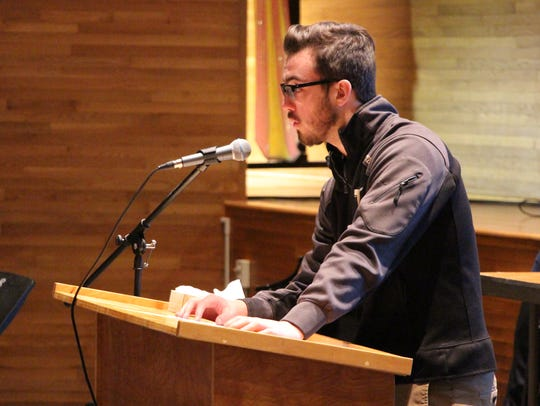 Windsor High School senior Jackson White speaks during