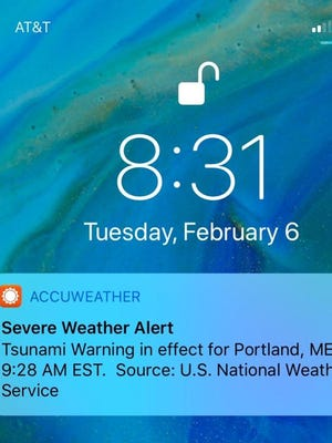 Some people on the East Coast got a push alert on their phones Feb. 6, 2018, about a tsunami warning, but the National Weather Service says it was just a test.