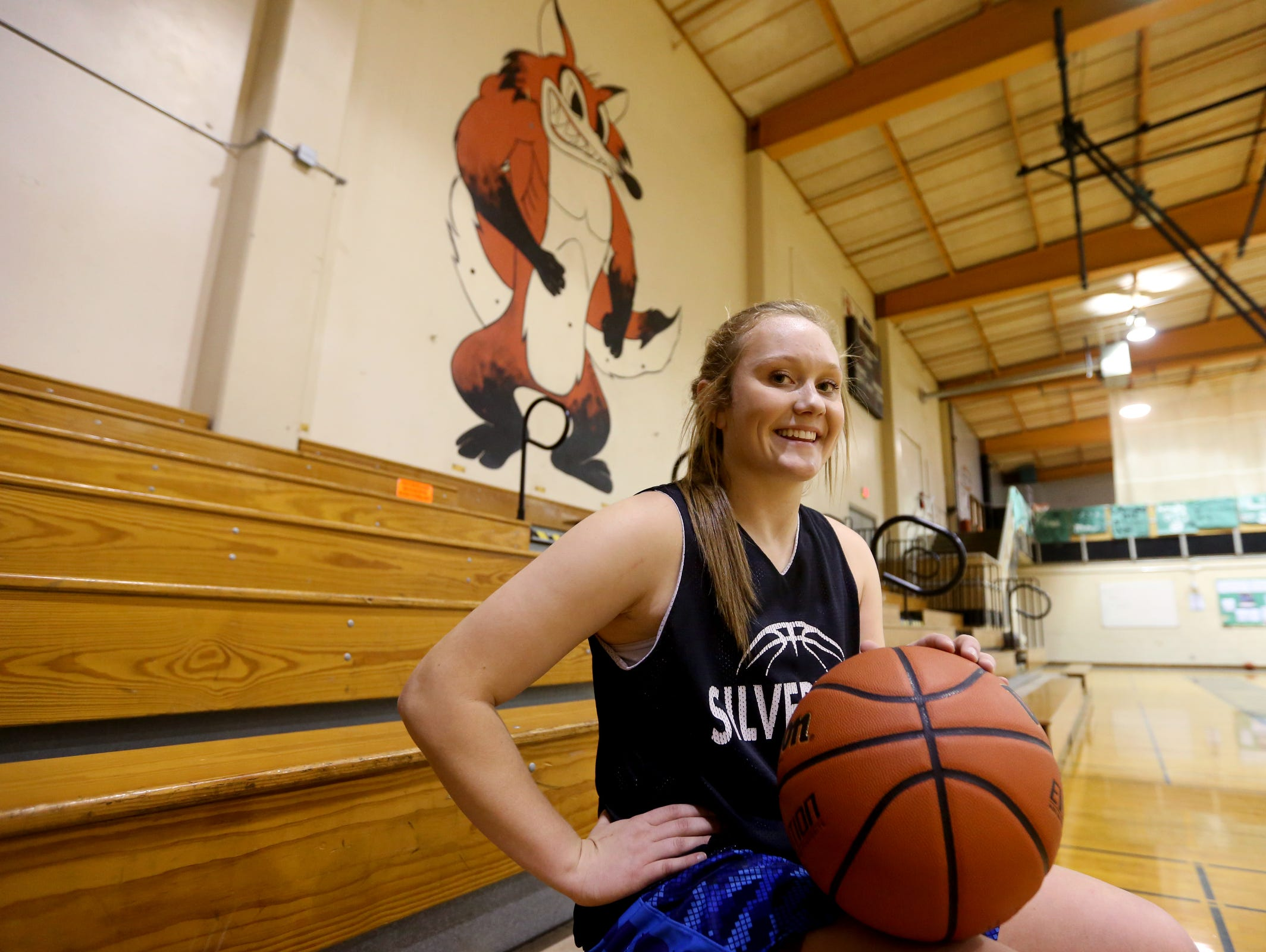 Junior Maggie Roth, with the Silverton girl's basketball team, on Monday, Dec. 12, 2016.