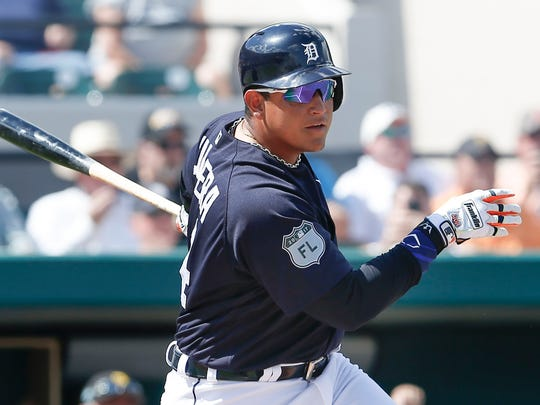 Tigers first baseman Miguel Cabrera hits a single to right during the second inning of a spring training game March 2, 2017 in Lakeland, Fla.