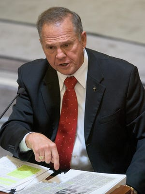 Embattled Alabama Chief Justice Roy Moore testifies during his ethics trial at the Alabama Court of the Judiciary at the Alabama Judicial Building in Montgomery, Ala., on Wednesday September 28, 2016.