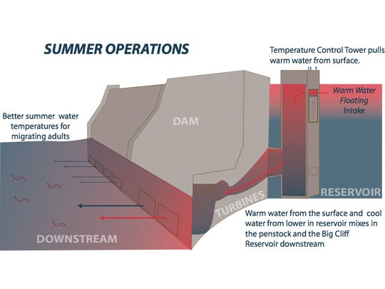 Example of how temperature control tower could work at Detroit Lake.