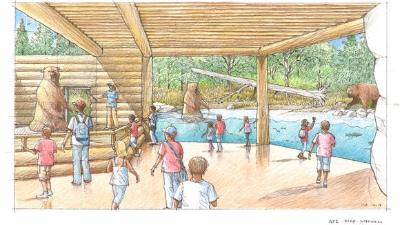 Renderings of the expanded Bear Canyon exhibit at the Great Plains Zoo.