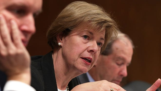 U.S. Sen. Tammy Baldwin, D-Wis., speaks during a hearing before the Military Construction, Veterans Affairs, and Related Agencies Subcommittee of the Senate Appropriations Committee on  Nov. 15, 2017.