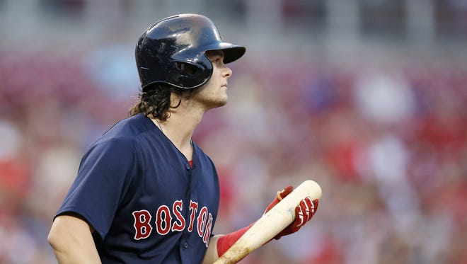 Cincinnati native Boston Red Sox left fielder Andrew Benintendi (16) takes the plate in the first inning of the MLB Interleague game between the Cincinnati Reds and the Boston Red Sox at Great American Ball Park in downtown Cincinnati on Friday, Sept. 22, 2017.