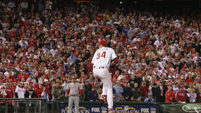 Phillies pitcher Roy Halladay delivers in the ninth inning of his no-hitter to open the NLDS with a 4-0 win against the Reds, Wednesday, Oct. 6, 2010, at Citizens Bank Park.