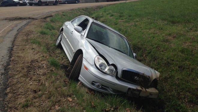 This wreck, where a Honda Sonata left Cotter Road and crashed into a ditch, sent teenager Danielle Bruss to Baxter Regional Medical Center for treatment.
