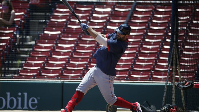 Mitch Moreland and the Red Sox wrapped up Summer Camp in a rain-shortened game Wednesday night.