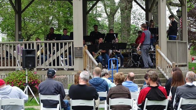 The Coshocton High School Jazz Reservation performed on Court Square at lunchtime Tuesday during this year's Dogwood Festival.