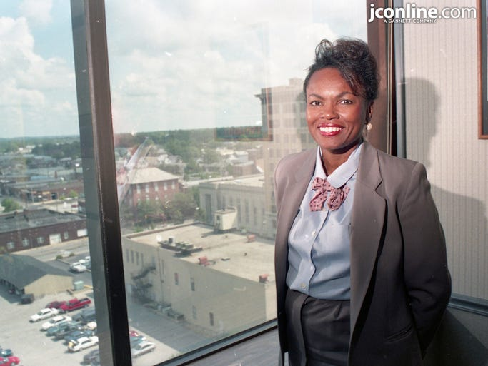 Judy Johnson, senior vice president of human resources at Bank One in Lafayette, is active with minority recruiting programs and was brought to Lafayette through such a program. Photo taken July 28, 1994.