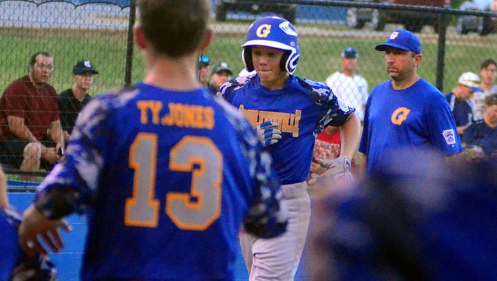 Goodlettsville Little League all-star Carson Rucker runs down the first-base line during third-inning action. Rucker singled twice and scored a run in Goodlettsville's 4-0 victory over Clarksville on Tuesday evening.