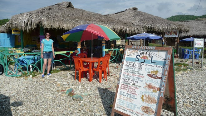 Sally Sharrow at a beach-side cafe in Ecuador.