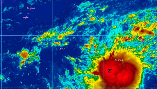 Tropical disturbance 95W as of Tuesday morning was about 1,500 southeast of Guam. It is expected to strengthen, possibly into a typhoon, and pass by Guam later this week.