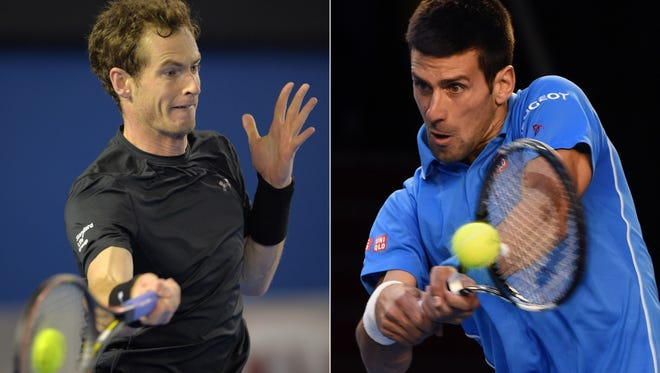 This combo shows file photos taken on January 29, 2015 of Britain's Andy Murray (L) playing against the Czech Republic's Tomas Berdych and on January 30, 2015 Serbia's Novak Djokovic (R) playing against Switzerland's Stanislas Wawrinka, both during their semi-final matches at the 2015 Australian Open