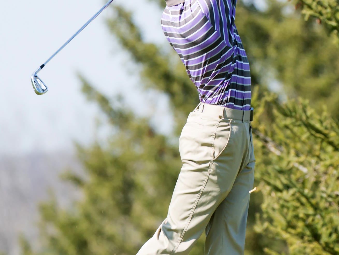 Lakeview's James Staab tees off on the 11th hole Thursday afternoon at Cedar Creek golf course.