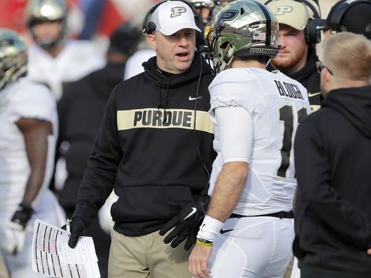 Purdue coach Jeff Brohm talks quarterback David Blough
