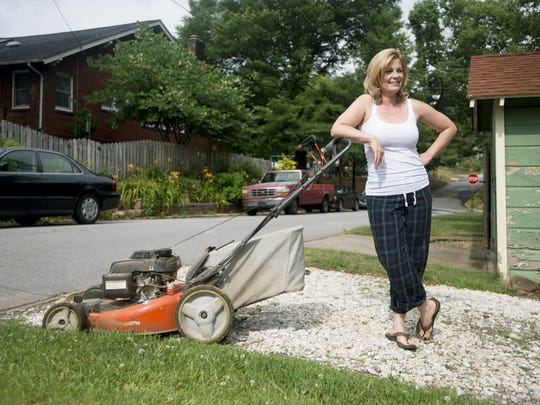 """Actress Tracey Johnston-Crum, who co-stars in the original comedy """"The Merchant of Asheville,"""" said Asheville's sense of humor gives her the freedom to mow the lawn in her pajamas."""