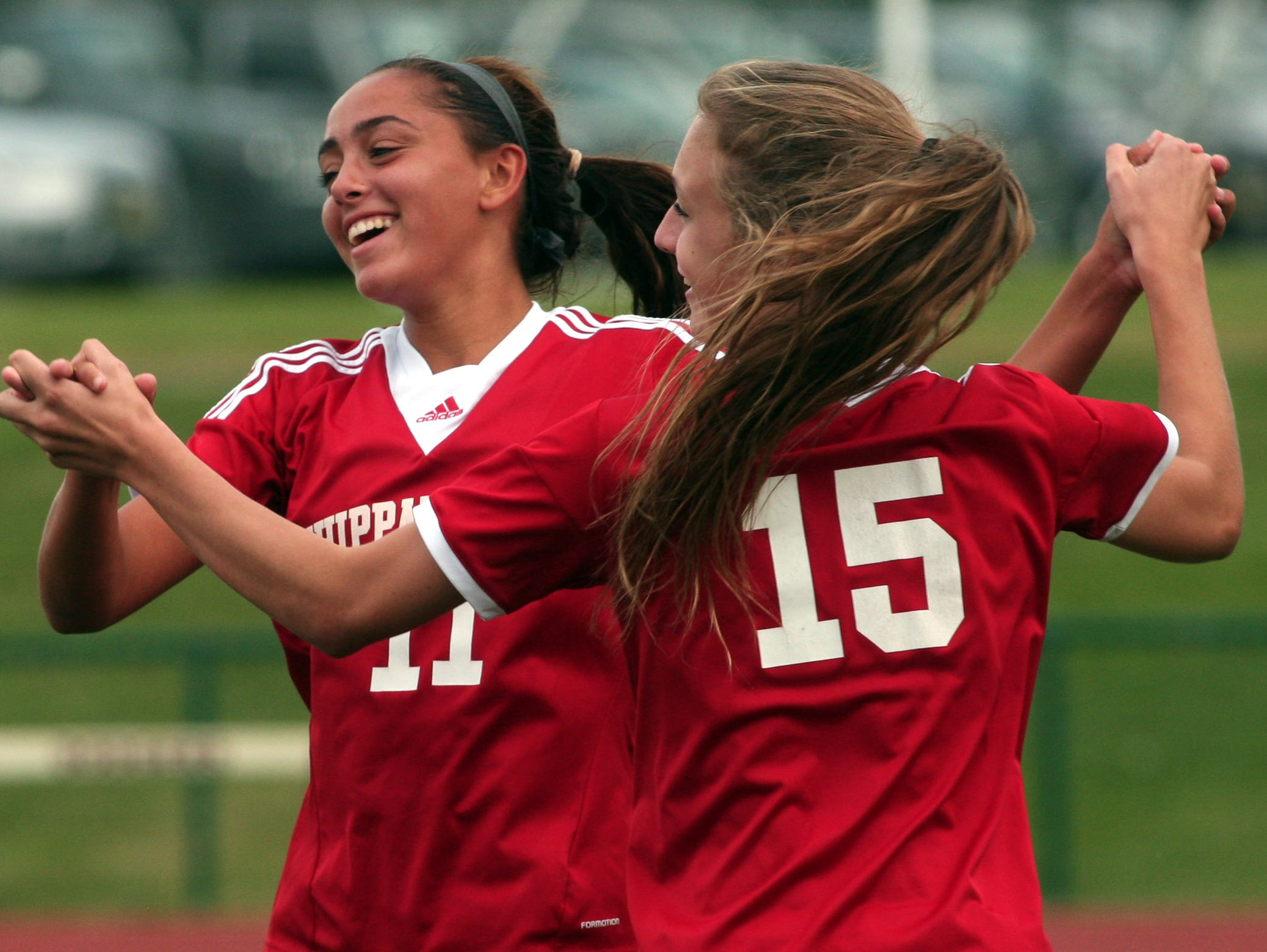 Whippany Park's Silvana Poulter, l, celebrates her goal with teammate Jessica Murphy vs Madison during their girls soccer matchup. September 22, 2015, Madison, NJ.