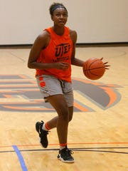 Jordan Alexander, 5-11 Jr College transfer from Trinity Valley Community College, Athens, Texas brings her game to the Miners for the next two years.