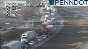 Traffic is backed up on I-81 north after a crash Monday.