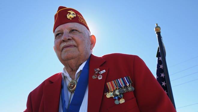 Grand Marshal Ray Urban, a Marine veteran of World War ll and Korea,  in the 2015 Veteran's Parade.